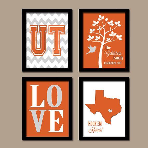 University of Texas Hook'Em Horns College Custom Family Monogram Initial State LOVE Bird Tree Wedding Date Set of 4 Prints WALL Decor ART on Etsy, $35.00