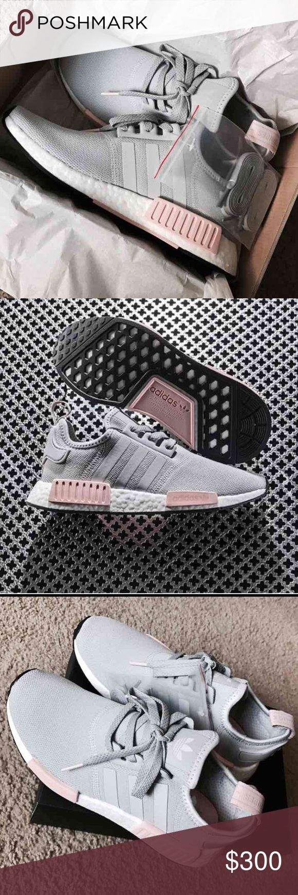 New Adidas NMD R1 Onyx Grey NO TRADES•••• New Women Adidas NMD. Featherweight sneakers with the adidas boost cushioning. Upper is made of suede and neoprene which makes these. Also have EVA foam plugs which provides more comfort for the underfoot. Have the classic 3 stripes.  Colorway : Onyx grey  #adidas #NMD #boost #women #yeezy White talc cream salmon pink Adidas Shoes Sneakers