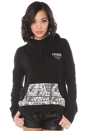 The Crooks and Castles Sur Califas Pullover Hoody in Black Snake Take a cue from LA street fashion in this snake print hoody from Crooks and Castles. This pullover is perfect for the girl on the go. Throw on some vegan leather shorts and Converse shoes and get ready to crush the day!