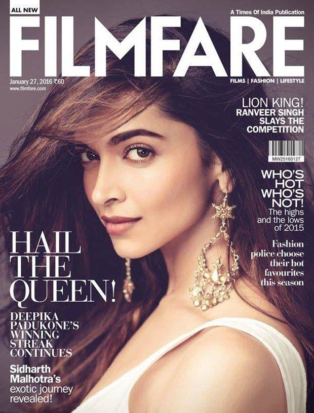 Deepika Padukone on the cover of Filmfare January 2016.