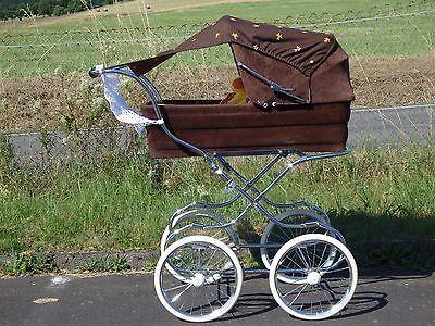 schokobrauner Emmaljunga Nostalgie Kinderwagen mit Sitzkissen,Sonnensegel & mehr