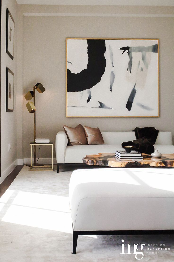 White Sofa Black And Brass With A Hint Of Natural Wood With Images Contemporary Living Room Living Room Designs Room Design