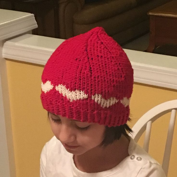 Child sized Heart hat! Made my own pattern for this one.