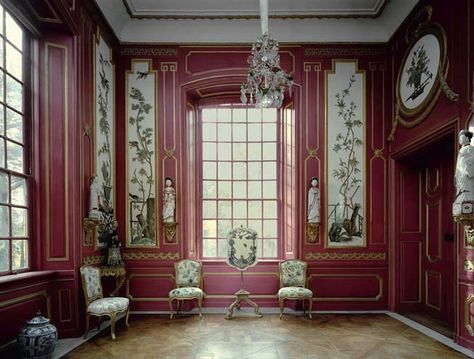 "the 18th-century ""Embroidered Room"" (Red Room) in the Chinese Pavilion at the palace of Drottningholm, Sweden. Photography by Marc Walter"