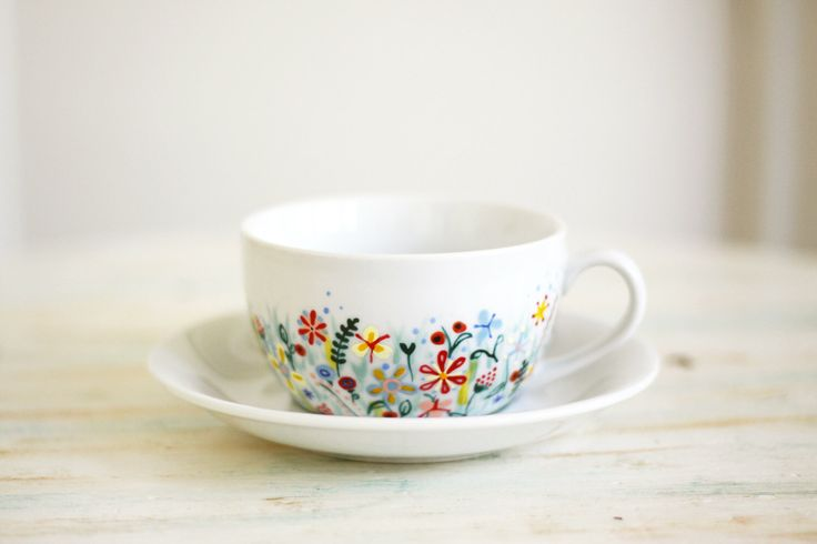 Hand painted porcelain cup and saucer - Not Only Grass - wild flowers by roootreee on Etsy https://www.etsy.com/ca/listing/103831404/hand-painted-porcelain-cup-and-saucer