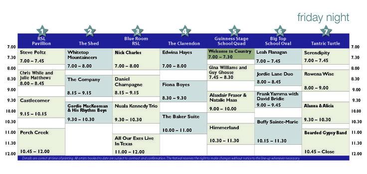 bmff.org.au - friday concert schedule