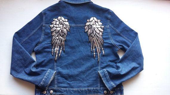 Denim Woman Oversize Jacket / Jeans Woman Jacket / Girls 90s Wings Jacket / Patched Jean Jacket / Cute Angels Girls Jacket / Gift For Woman