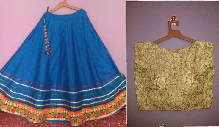 Blue skirt cum lehenga with golden worked crop top Price-4500/-
