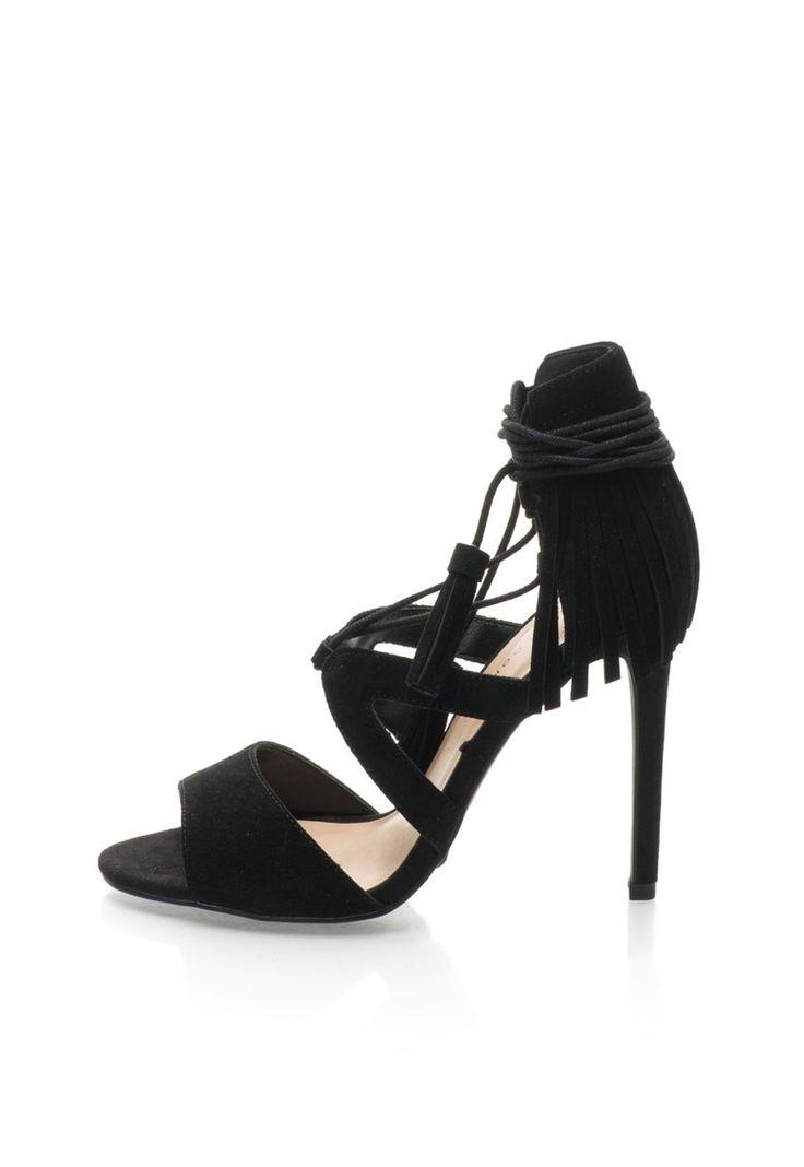 Sandale negre cu toc inalt din piele intoarsa - New Look