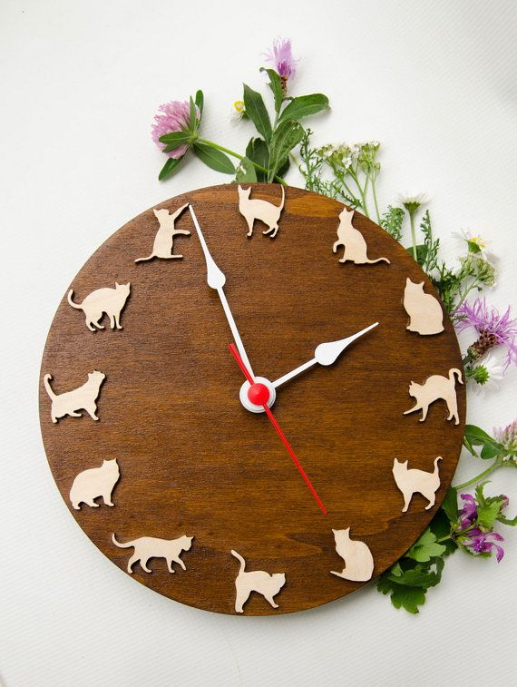 Wooden clock with funny cats , playing cats, for pets lovers, funny gift unique home decor