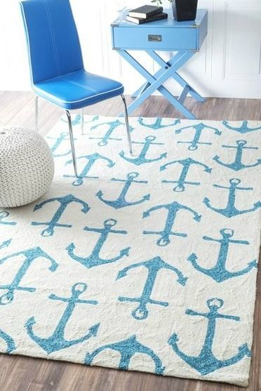 Anchor Rug on Sale: http://www.completely-coastal.com/p/coastal-sale-island.html Beachy feeling indoor outdoor nautical anchor area rug.