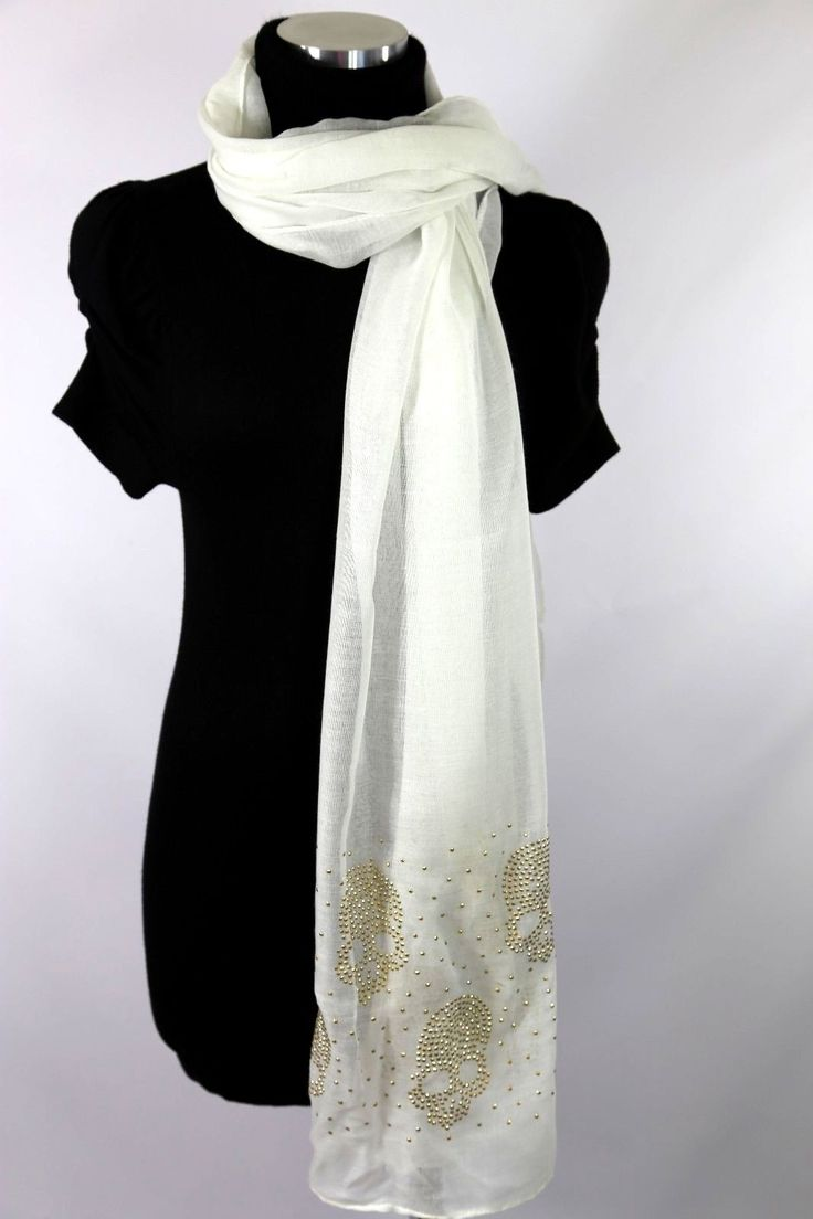 B117 Small Skull Gold Metal Studded Off White Shawl Scarf Unique Boutique