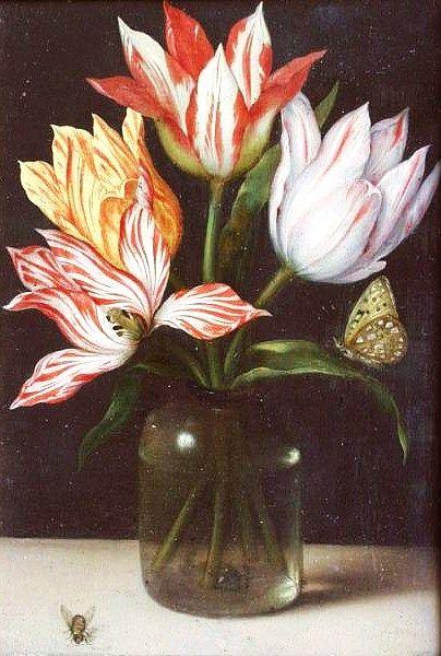 Ambrosius Bosschaert de Oude (Nederlandse Barokke Schilder van de Era, 1573-1621) Glas met Vier Tulpen 1615 Bloemstillevens waren nog steeds in zwang tijdens de 18e en 19e eeuw, toen de opkomst van grootschalige commerciële bollenstreek getransformeerd van Nederland in de bloem natie dat het aan deze dag blijft. Uitvoer van deze bollen gemaakt van de bloemen van deze stillevens beschikbaar aan beide zijden van de Atlantische Oceaan.