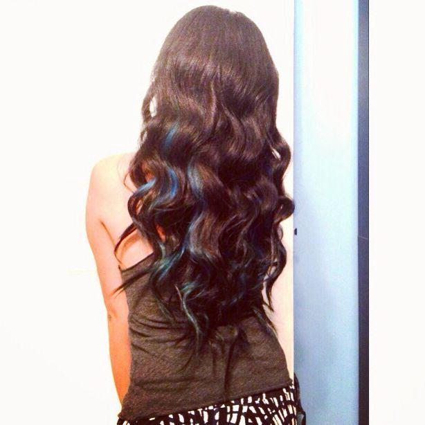 blue peekaboo highlights on black hair - Google Search