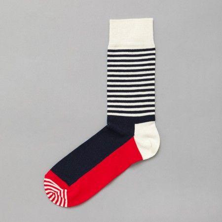 Happy Socks Stripe Half Sock in Red / White / Blue