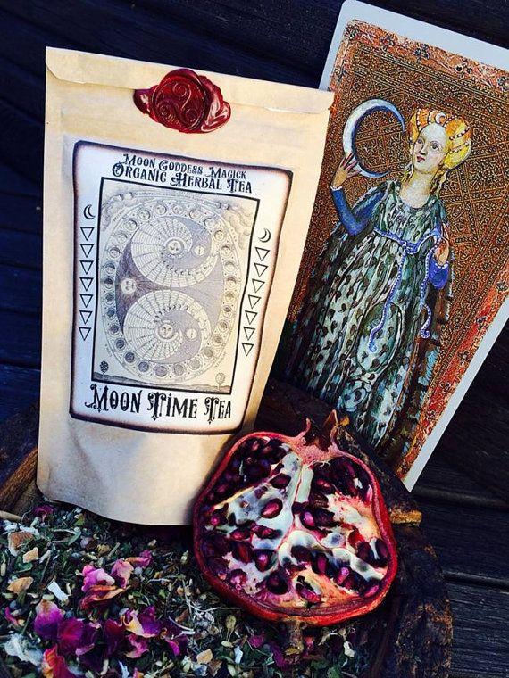 Moon Time Tea ~ Organic Herbal Tea ~ MENSTRUAL Tea ~ Ease and Regulate your Moon Cycle ~  Moon Goddess Magick ~ Wax Sealed ~