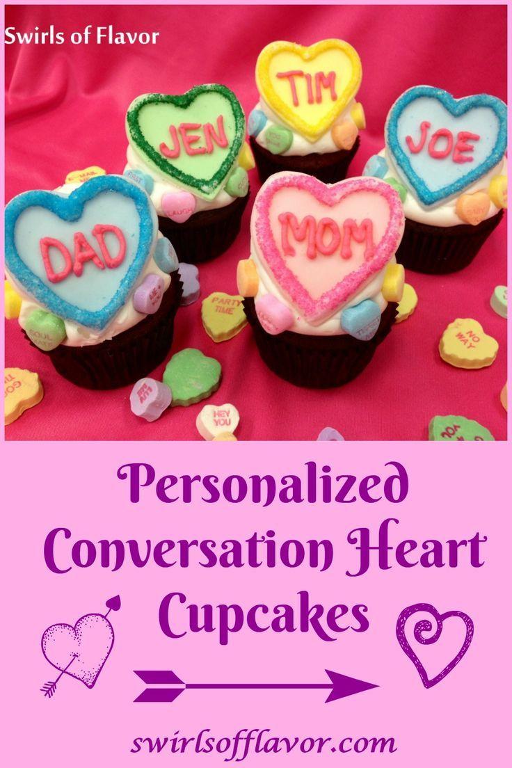 Personalized Conversation Heart Valentine Cupcakes Recipe Fun
