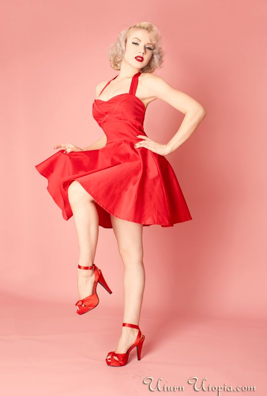 Red Vintage Style Halter Dress /Pin Up/Rockabilly 1950s Inspired