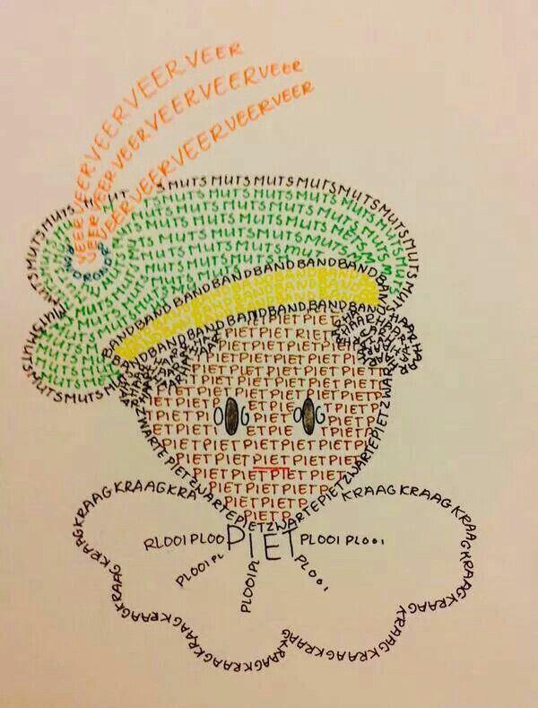 Dit is voor groep 3 (en hogere groepen) wel erg grappig! Sinterklaas woordjes schrijven in de vorm van een piet! Echt super creatief! Voor groep 3 kunt u er stippellijntjes in tekenen en het eerste woordje en dan de eerste letter zelf schrijven. Zo hebben de kinderen een houvast om te schrijven.