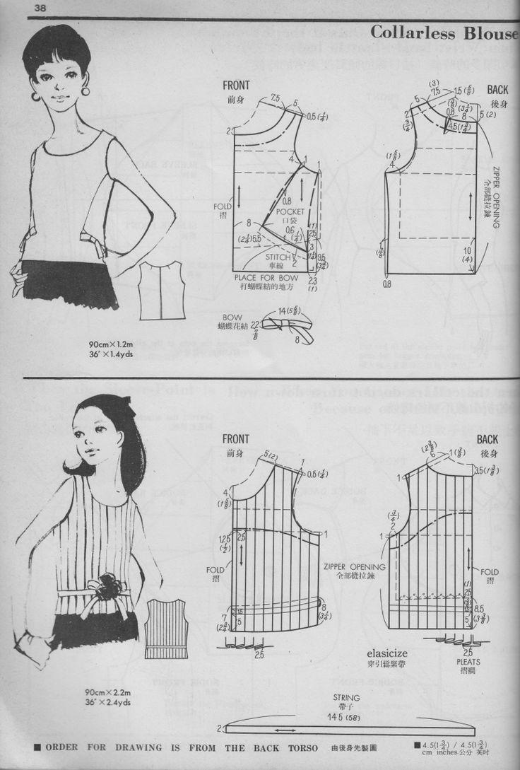 The collarless blouse from Pattern Drafting Volume I by Kamakura-Shobo