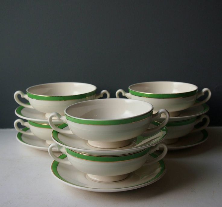 6 Vintage Soup Bowls and Saucers, Set of 6 Bowls, Green and Gold, Queens Green, Solian Ware, Traditional Soup Bowl Set, Vintage Crockery by BackroomVintageStore on Etsy https://www.etsy.com/uk/listing/489887399/6-vintage-soup-bowls-and-saucers-set-of