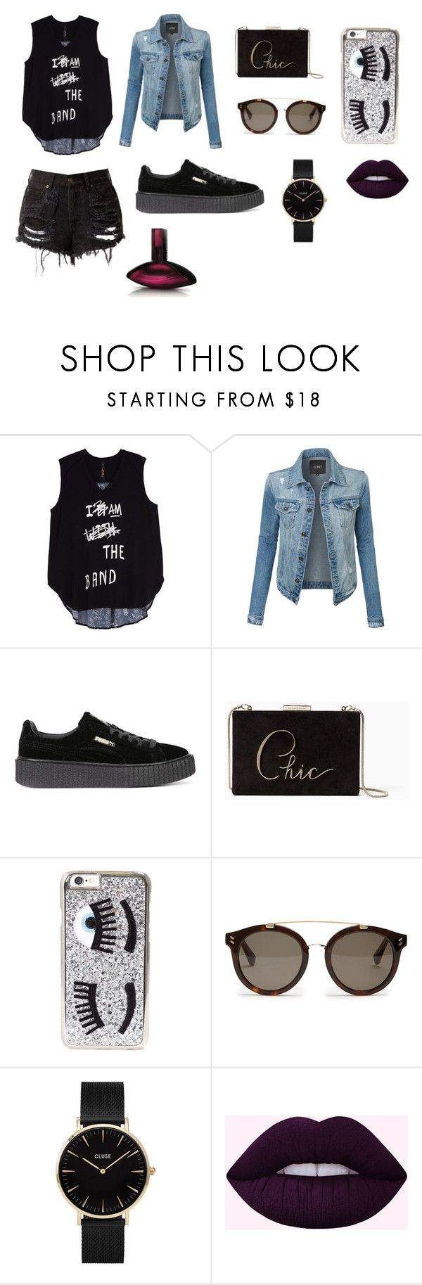 """""""Oblečení (outfit) na párty"""" by deni-loveclothers on Polyvore featuring Melissa McCarthy Seven7, LE3NO, Puma, Kate Spade, Chiara Ferragni, STELLA McCARTNEY, CLUSE, Calvin Klein and plus size clothing"""