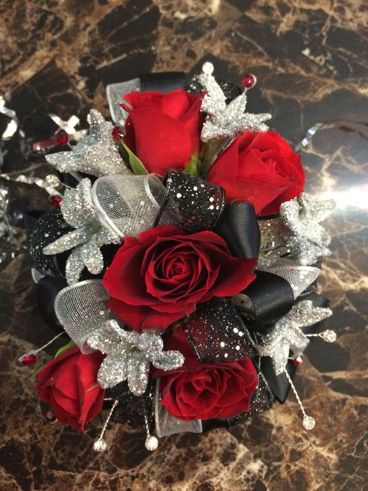 Red and black Prom corsage