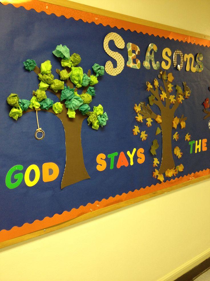 Fall Tree Classroom Door Decorations ~ Seasons change god stays the same trees of