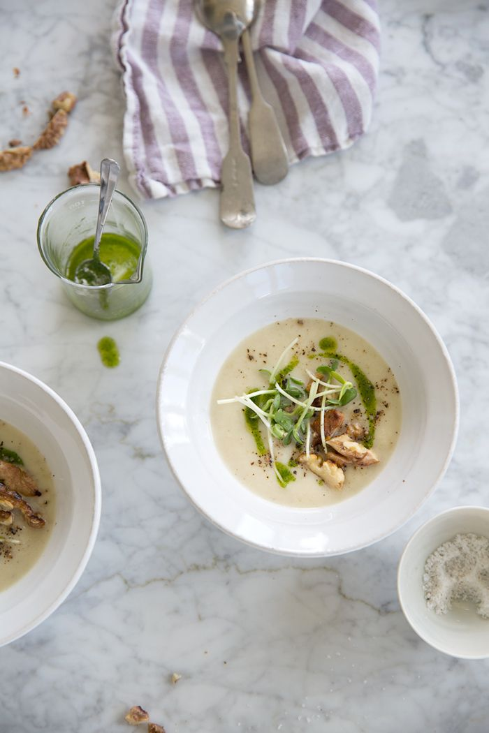Sunchoke soup with toasted walnuts, parsley oil and sunflower sprouts ...