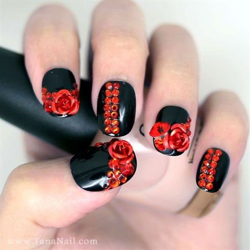 Red rose nails by tananail - Nail Art Gallery nailartgallery.nailsmag.com by Nails Magazine www.nailsmag.com #nailart