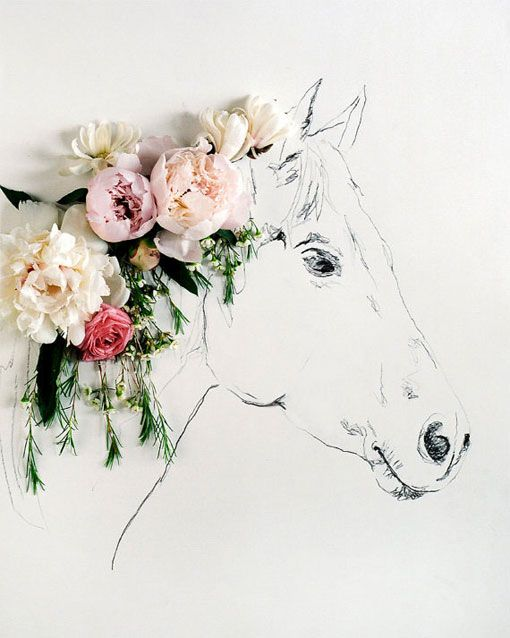 Horse art with flowers in the mane.