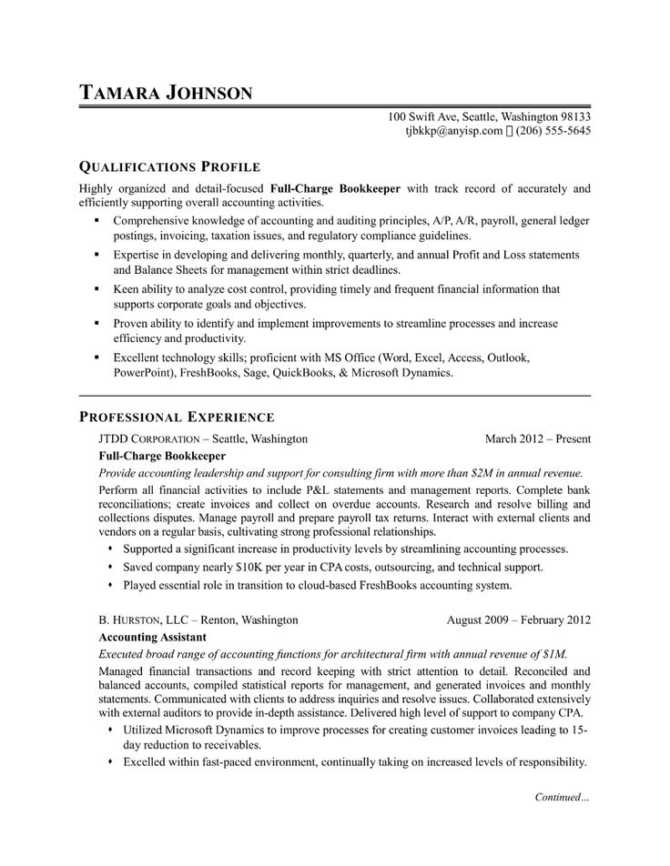 Sample resume for a bookkeeper in 2020 Resume examples