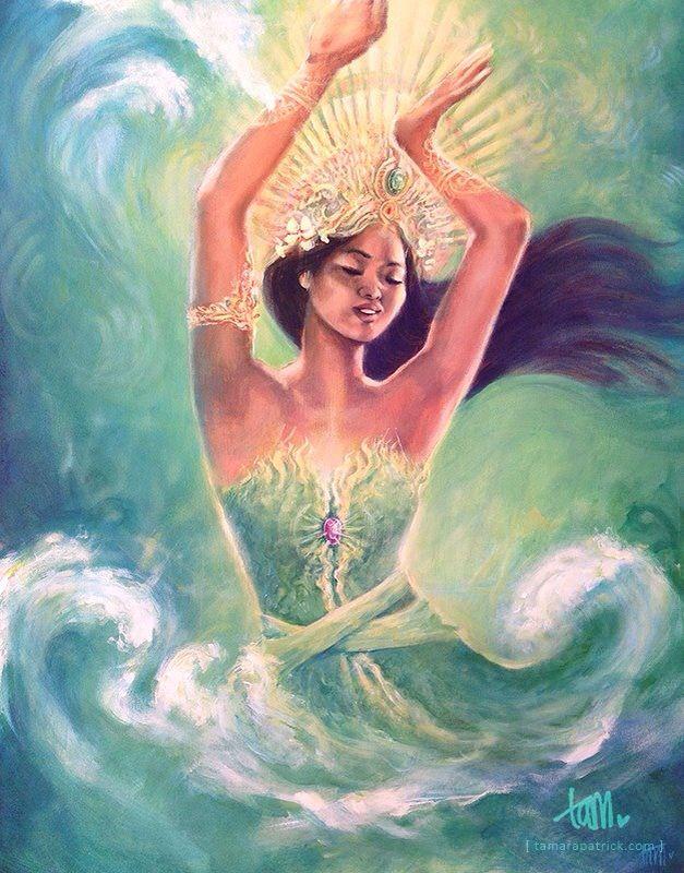 'De Dansende Ratu' - acrylic painting of sea goddess Ratu Kidul / Nyai Loro Kidul - tamarapatrick.com