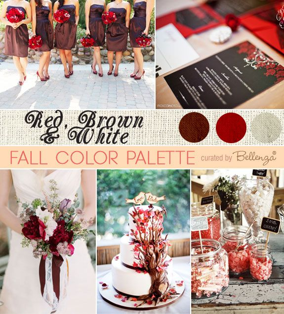 An elegant wedding palette for fall in red, brown, and white with pretty bridesmaids' dresses, red floral invitations, and a color trio wedding cake.