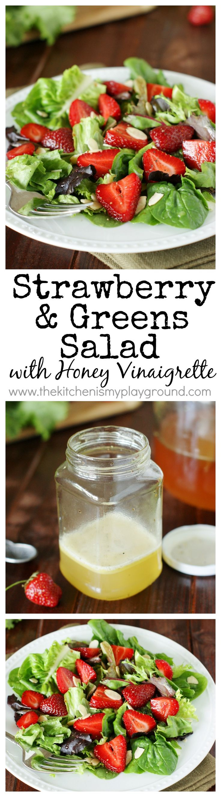 Strawberry & Greens Salad with Honey Vinaigrette ~ a simple & very flavorful salad.  Sure to impress!  www.thekitchenismyplayground.com