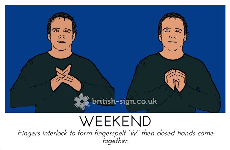 Today's British Sign Language sign is: WEEKEND view more signs online at www.british-sign.co.uk #BSL #BritishSignLanguage