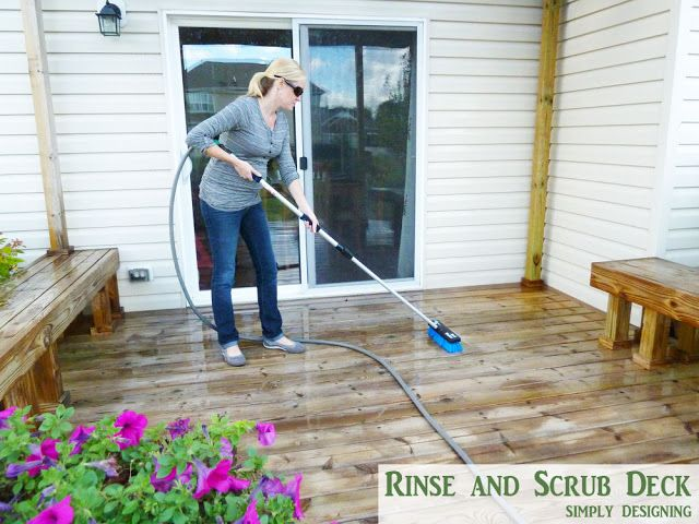 Rinse and Scrub Deck | How to Stain a Deck | #deck #stain #diy | @Simply Designing {Ashley Phipps}