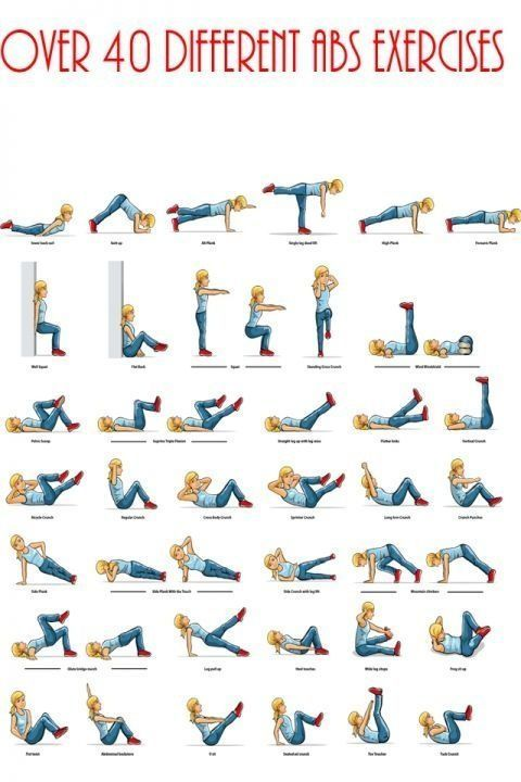 Visual guide to over 40 abs exercises #BarnDad #Motivation #HealthyLiving #Exercise #BeFit