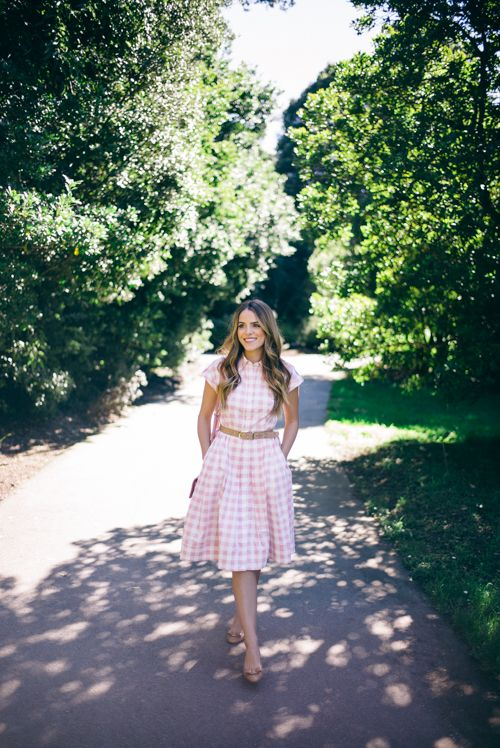 Pink Check Dress by Eliza J with my Ferragamo Flats