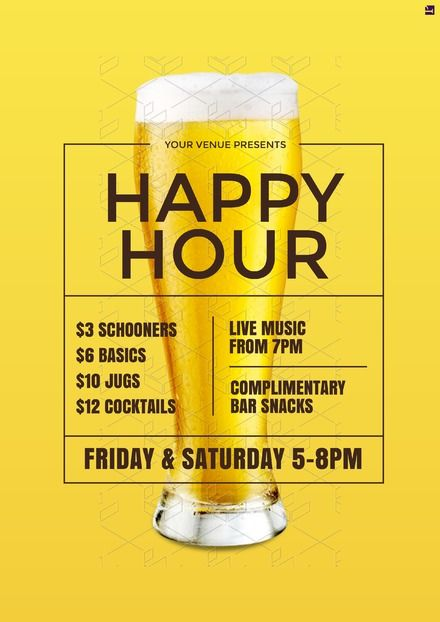 Happy Hour poster template. Our professionally designed templates can be updated in your browser - no design software or experience required! Start free trial of 'Plus' for 30 days - easil.com #hospitality #bar #templates #promotions
