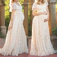 Wish | New Photography Props Pregnant Women Photography Photo Shoot Long Lace Maternity Dress
