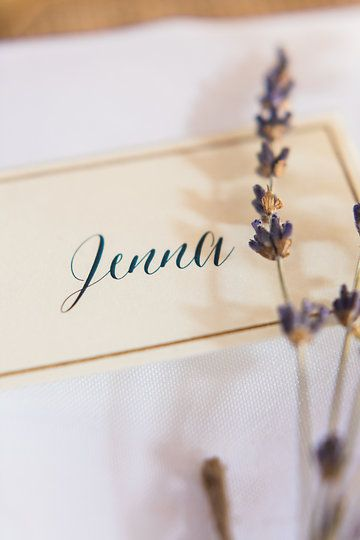 Escort Cards & Lavender  Photo from Jess & Francis collection by 1486 Photography