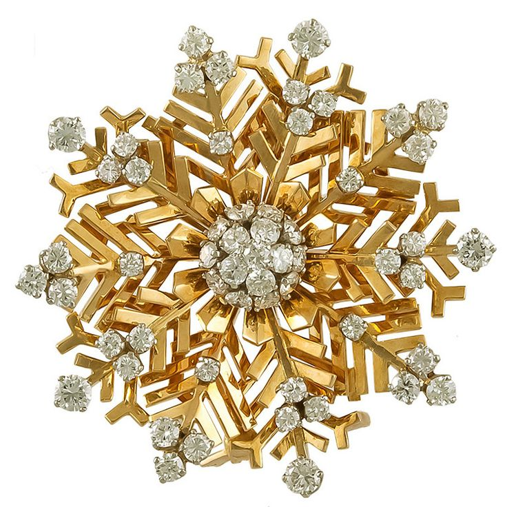 Van Cleef & Arpels Diamond Snowflakes Brooch | From a unique collection of vintage brooches at https://www.1stdibs.com/jewelry/brooches/brooches/