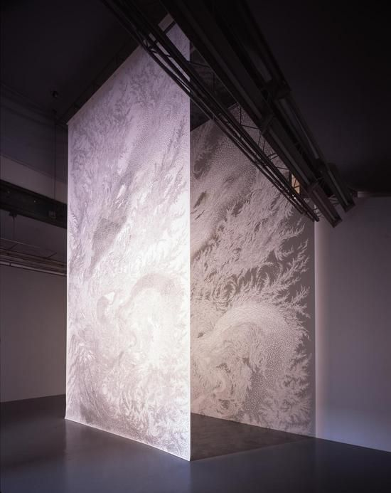 Tomoko Shioyasu makes HUGE papercut tapestries. say it with me now, Holy. Fucking. Shit.