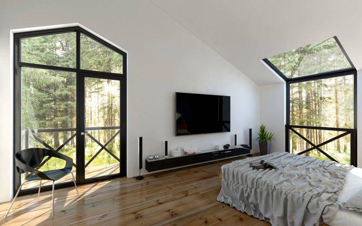 Светлая, наполненная воздухом и пространством спальня, с большими окнами в пол. : Moderne slaapkamers van Mild Haus