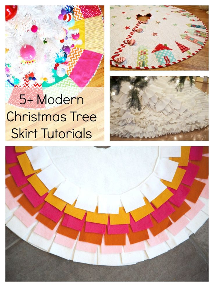 Let's face it, the Christmas tree can look bare and (ahem) naked until those presents are piled underneath.  Why not add a tree skirt?  When adding a Christmas tree skirt under the tree, think outside the box.  Your tree skirt doesn't need to stick to the traditional red and green colorway.  Sewing modern Christmas tree skirts …