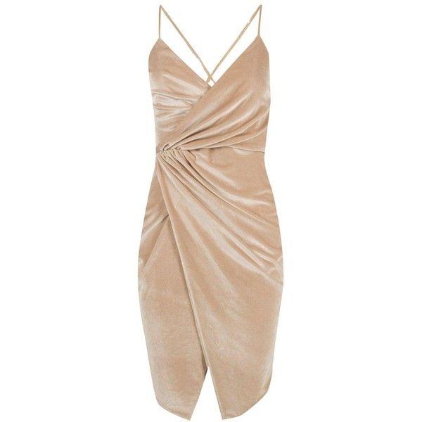 Boohoo Petite Cara Wrap Asymmetric Velvet Dress ($40) ❤ liked on Polyvore featuring dresses, velvet dress, asymmetrical dress, beige dress, wrap style dress and petite dresses
