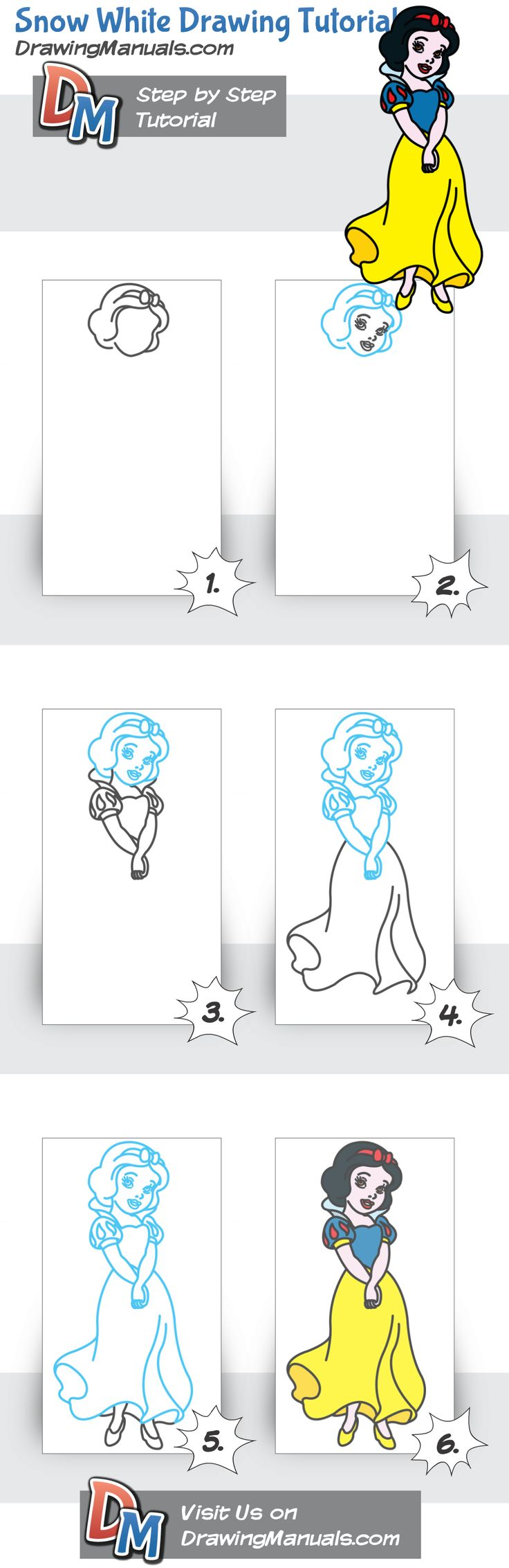 Snow White Drawing Tutorial http://goo.gl/1oR3SF