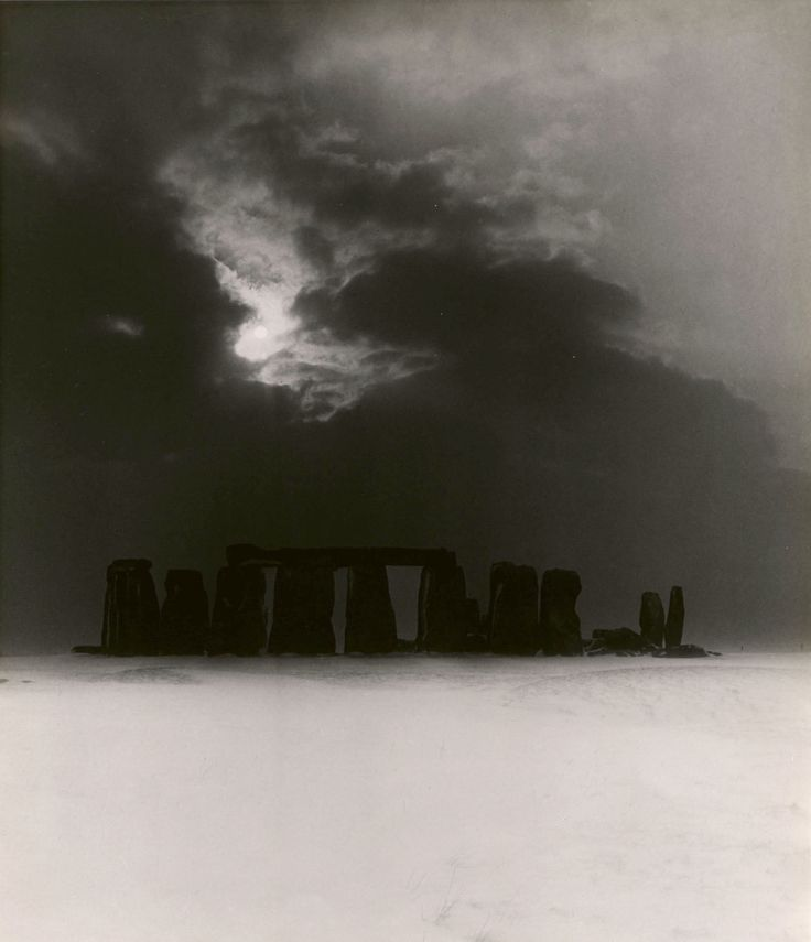 Photo by Bill Brandt (1904-1983) -   Stonehenge in the Snow, ca. 1947.  © Bill Brandt Archive Ltd./Courtesy Edwynn Houk Gallery, New York.