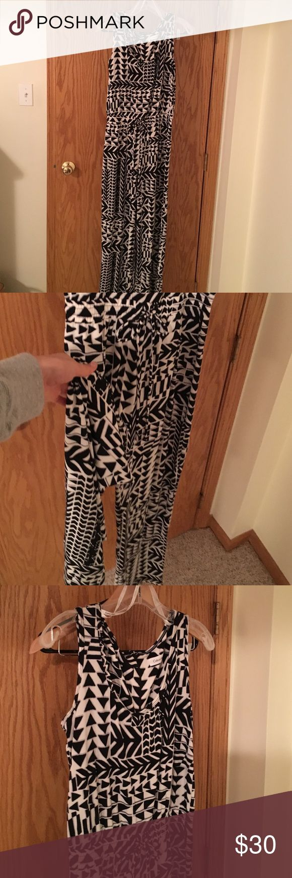 Black and white jumpsuit Calvin Klein brand new worn once romper pants suit. Black and white pattern Calvin Klein Dresses Maxi